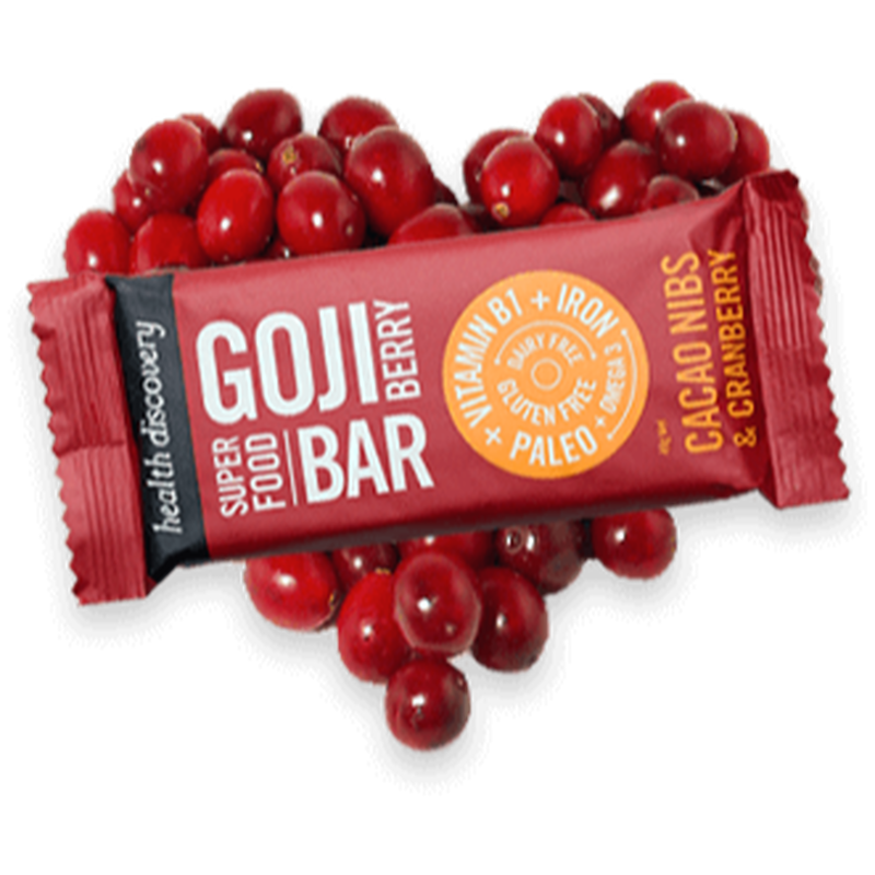 ゴジベリーバー カカオニブとクランベリー Goji Berry - Cacao Nibs & Cranberry  (10個入りパック)