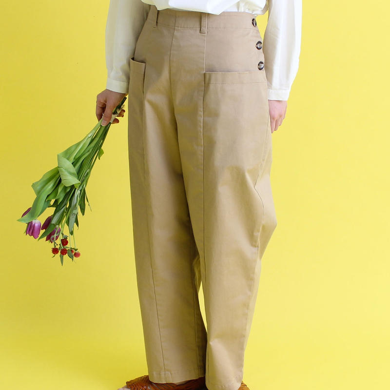 chambre de charme cdc チノ太テーパード 大きなポケットパンツ