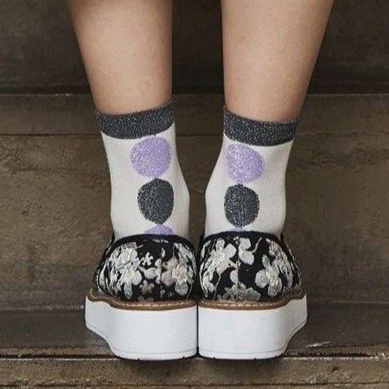 靴下/ラメ/ライトグレーベース/薄紫xチャコールグレー/サークル