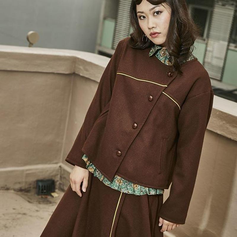 デザインジャケット/秋冬物/ウール/ブラウン