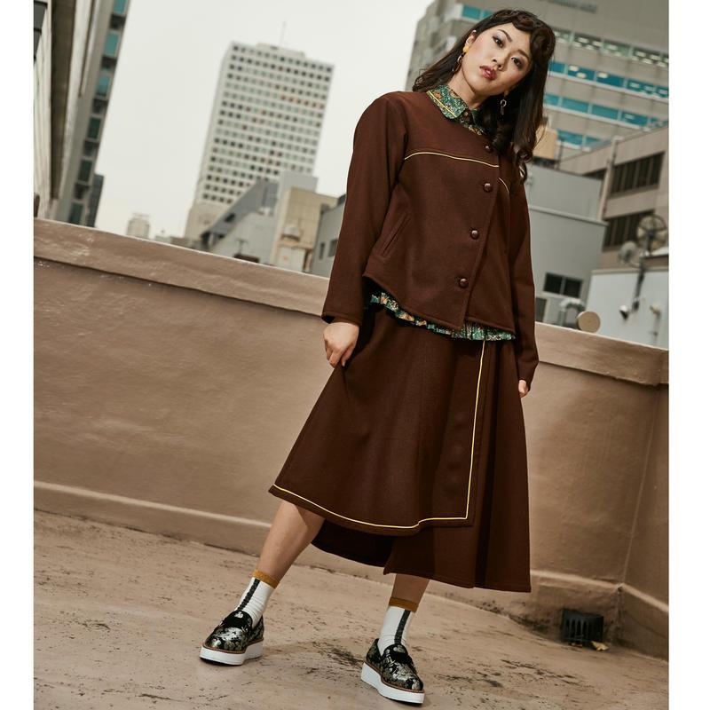 デザイン/ラップ/スカート/秋冬物/ウール/ブラウン /イエローパイピング
