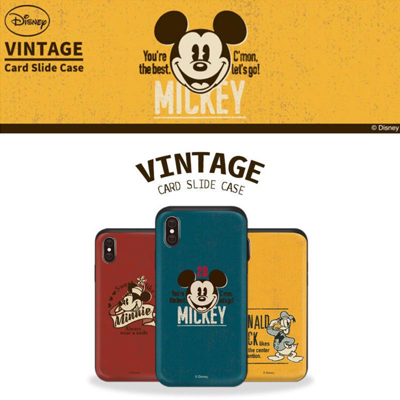 【超大人気!!】ディズニービンテージビビッドカラースライドカード収納ケータイケース Galaxy S10+  Galaxy S9+  iPhone X/iPhone XS   iPhone7+