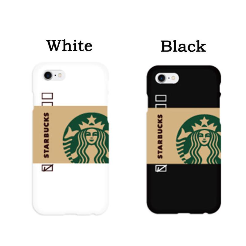 【インスタ映え◎】スタバスタンダードホワイト&ブラックスリムハードケータイケース Galaxy S10+  Galaxy S9+  iPhone X/iPhone  iPhone7+/iPhone8+