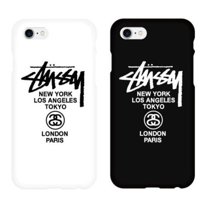 【大人気!!!】Stussy ロゴホワイト&ブラックスリムハードケータイケース  iPhone X   iPhone7+/iPhone8+  Galaxy note9     Galaxy S10
