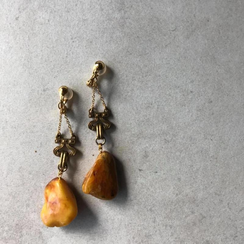 Amber classical earring 【Cognac brown / Butterscotch】