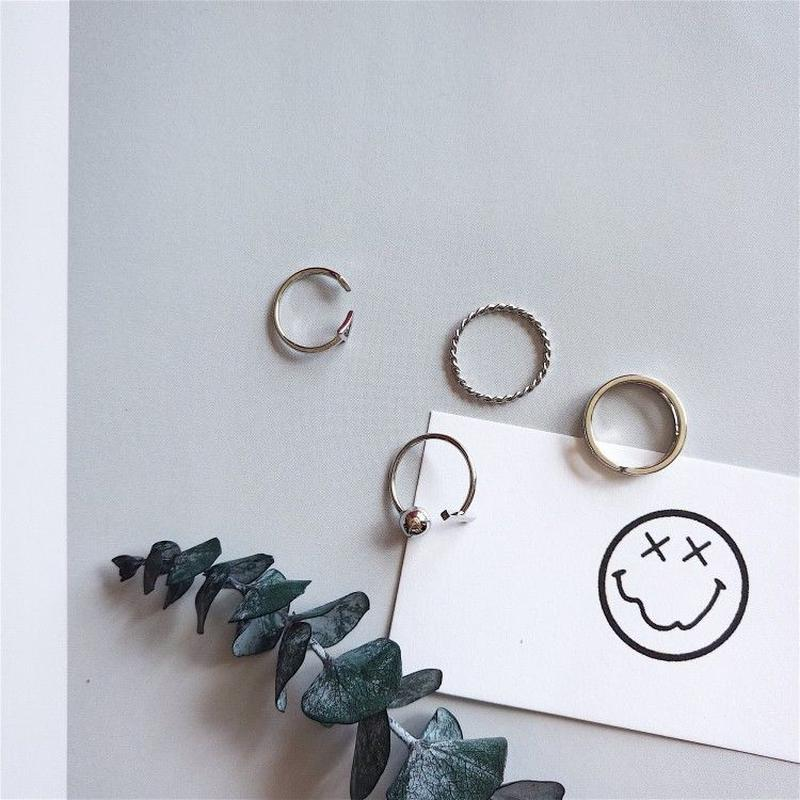 シルバー指輪セット/ファランジリング/4点セット
