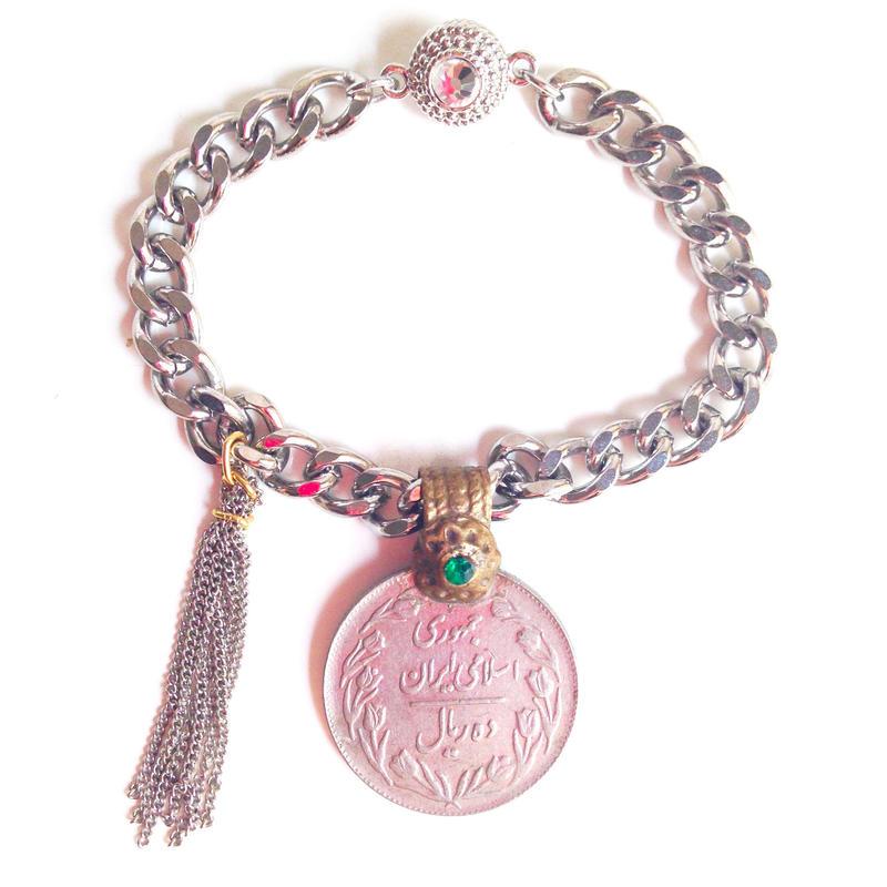 Tribal coin bracelet green stone fringe Iran トライバル コイン ブレスレット cb-0001