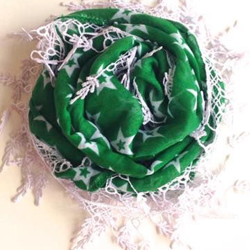 オヤ付星柄スカーフ トルコ green star scarf with oya turkey sf-0007