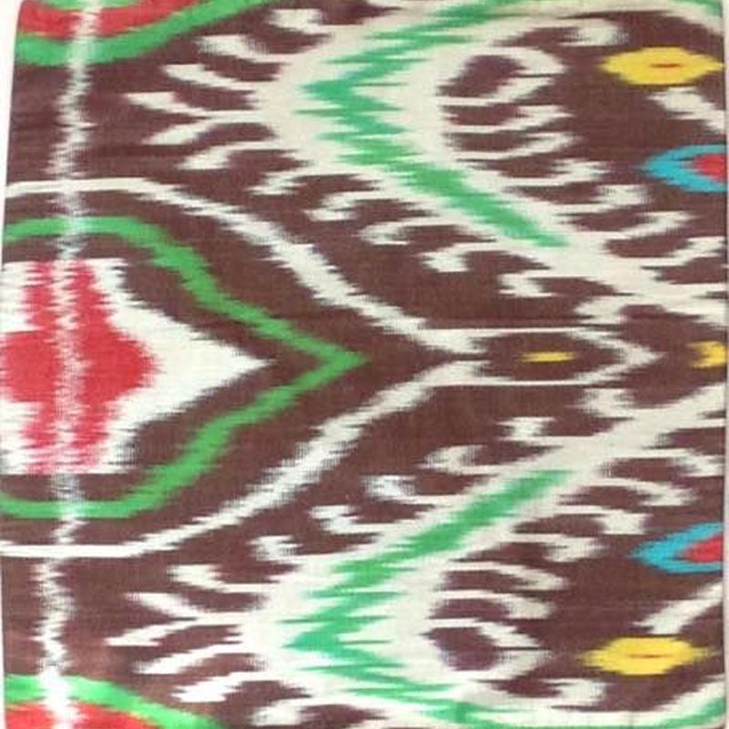 クッションカバーこげ茶ウズベキスタン約35.5 x 37cmシルクイカット dark brown silk ikat cushion cover uzbekistan si-0001