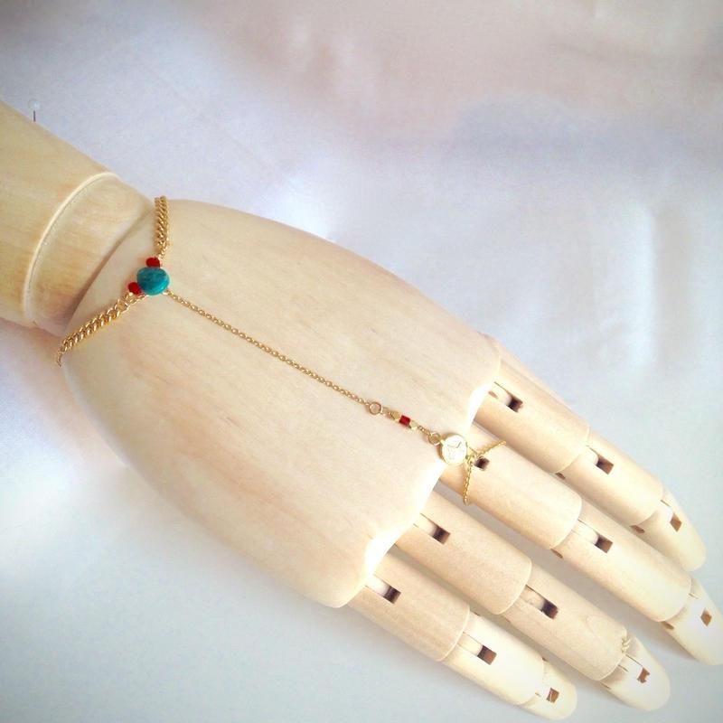 ターコイズしずく ハンドチェーン Hand Chain drop turquoise HC-0004
