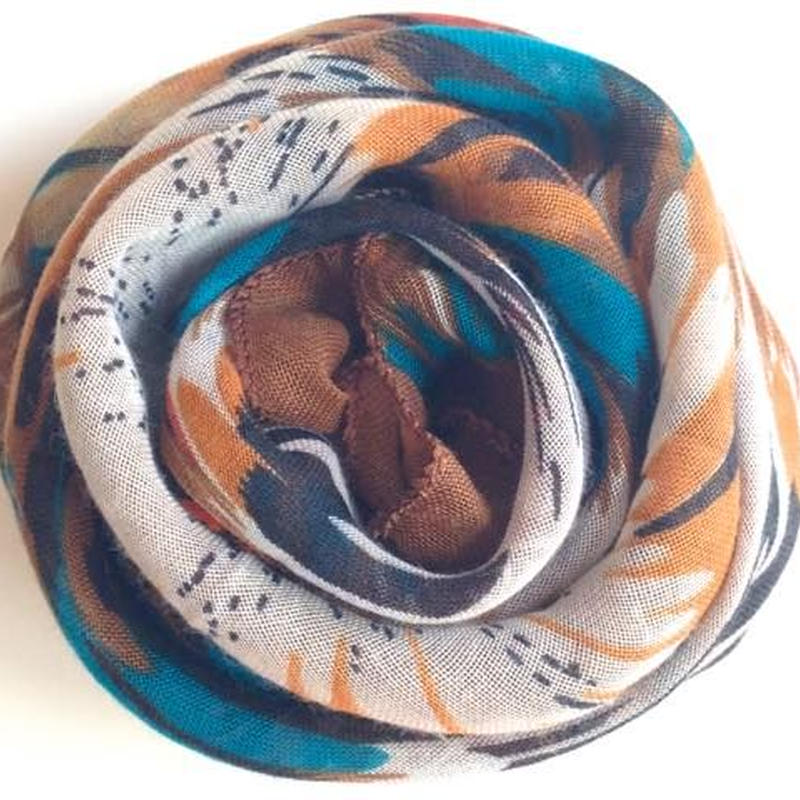 フェザー柄ガーゼスカーフ茶色 トルコ feather brown scarf turkey sf-0010