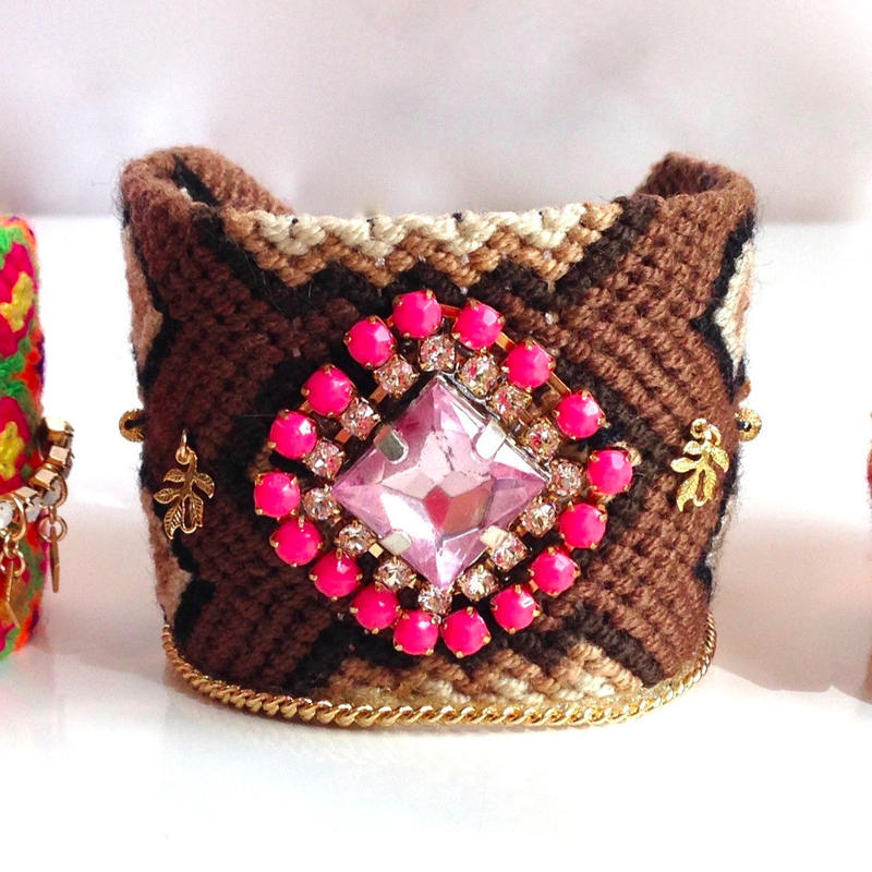 Wayuu Mochira Bracelet brown pink stone Colombia ワユー モチーラ ブレスレット wb-0003