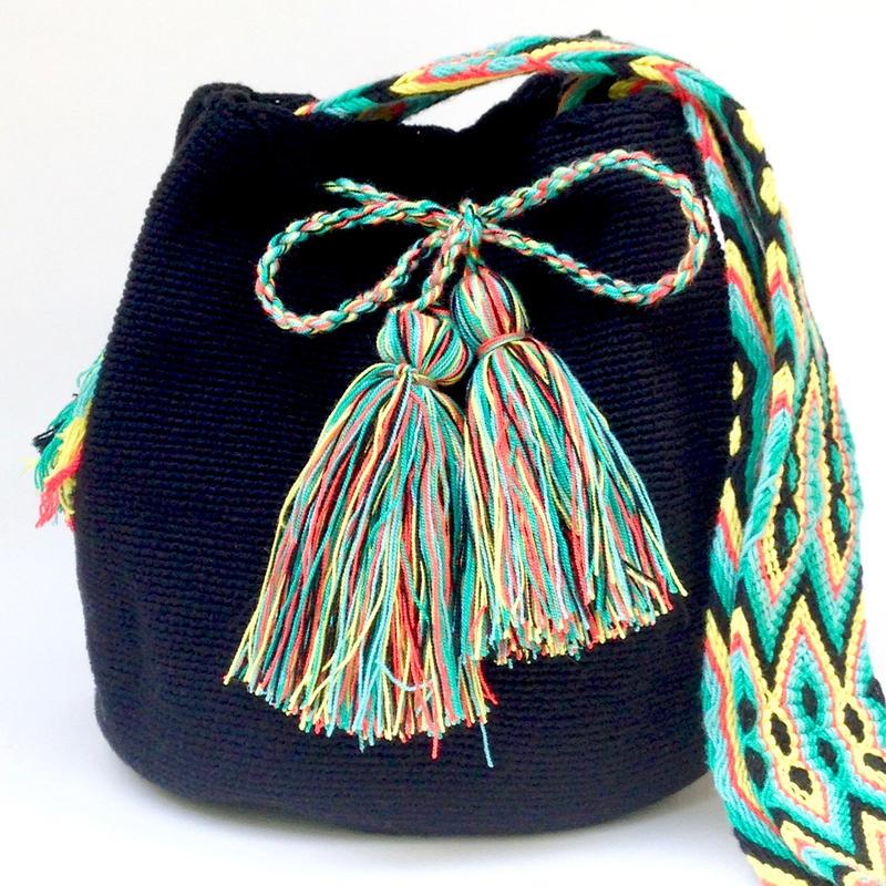 Wayuu Mochila Bag black turquoise osonuchi Colombia ワユー バッグ 黒ターコイズストラップwy-0013