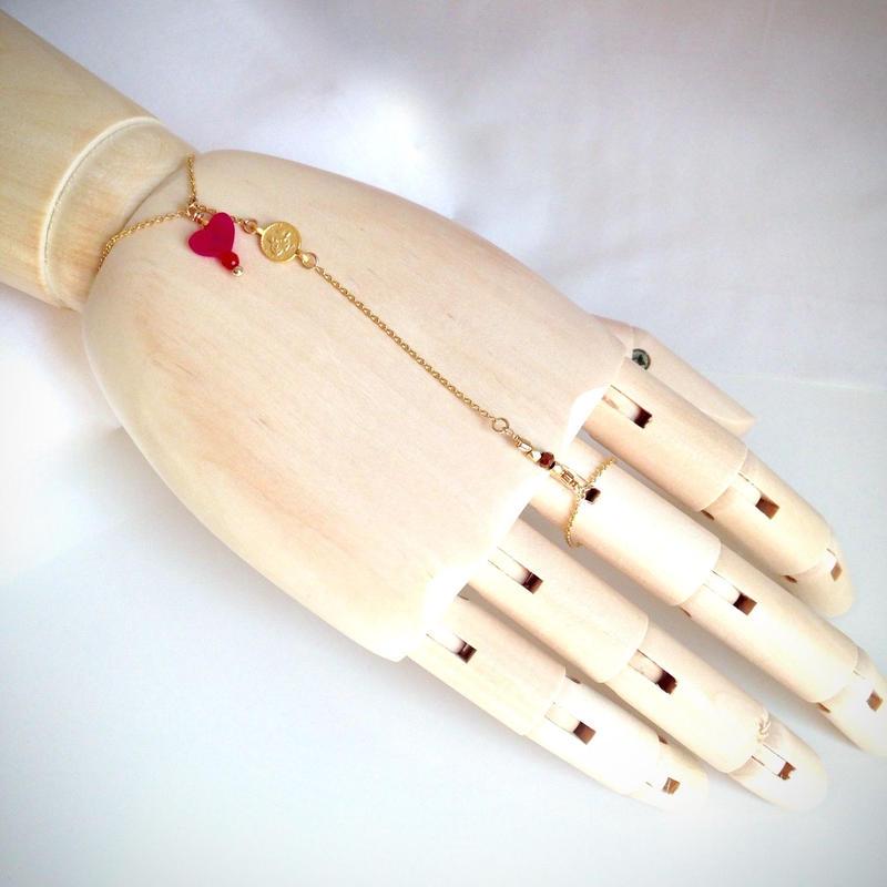 ピンククォーツハート ハンドチェーン Hand Chain pink heart quartz HC-0001