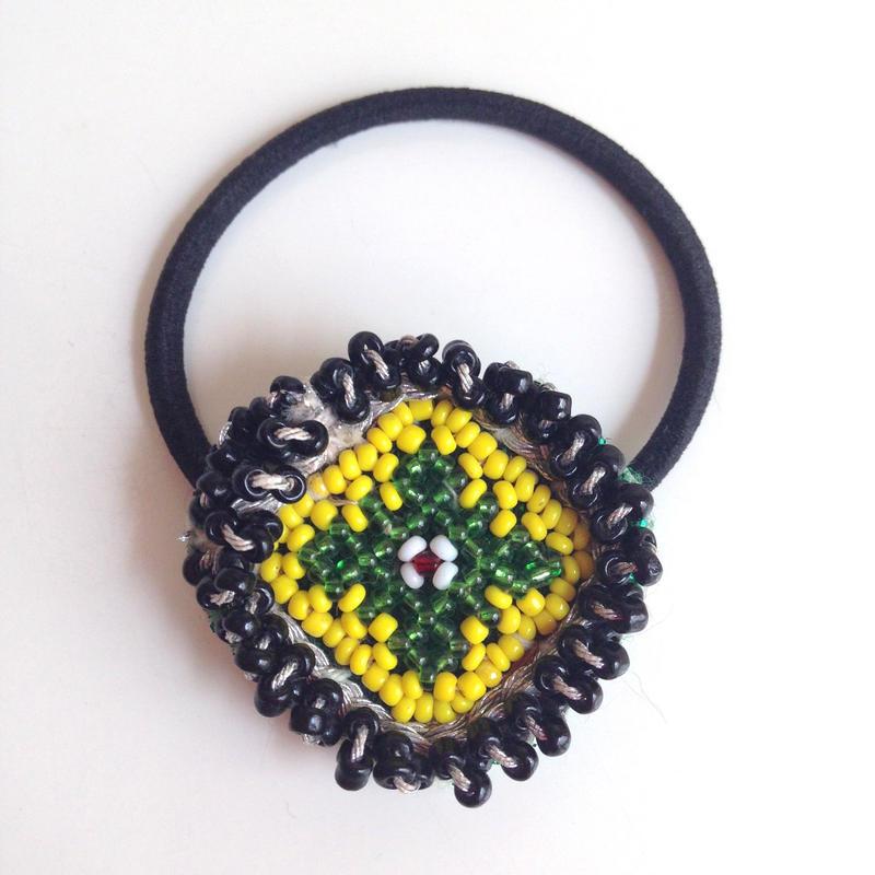 ビーズメダリオン ヘアアクセ アフガニスタン 緑十字 Afghanistan beaded medalion hair accessory HG-0006