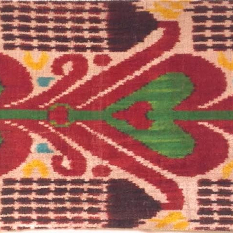 クッションカバー緑ハートウズベキスタン 約37.5 x 43.5cm ベルベットイカット heart velvet ikat cushion cover uzbekistan vi-0003