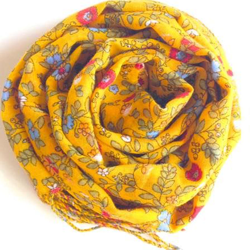 小花柄ガーゼスカーフ黄色 トルコ flower yellow scarf turkey sf-0009