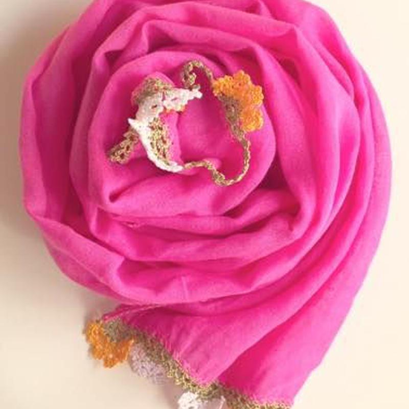 オヤ付コットンスカーフピンク トルコ pink scarf with oya turkey sf-0008
