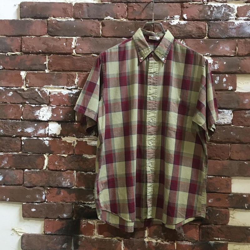 60-70s COTTON CHECK B/D SHIRT