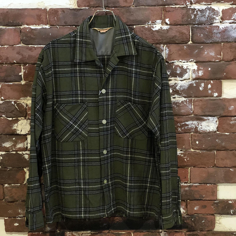 60-70s FOX KNAPP WOOL BOX SHIRT