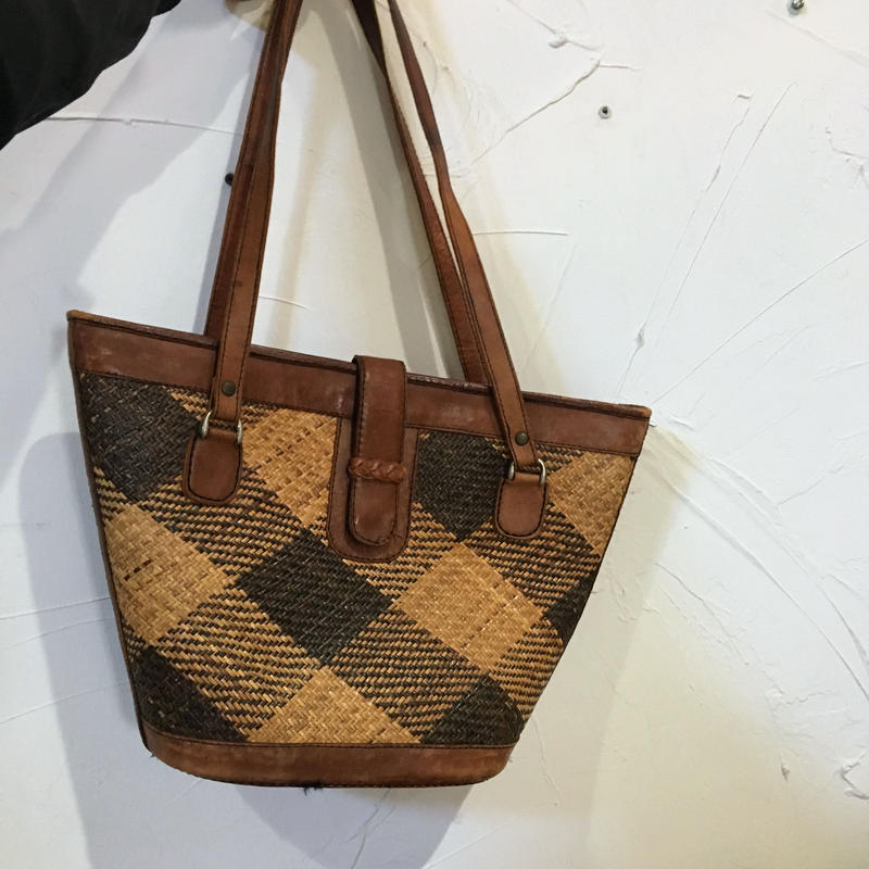 LEATHER CANEWORK ×LEATHER BAG