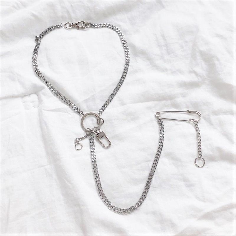 [Hand made]Surgical Design Chain  Necklace  With safety pin