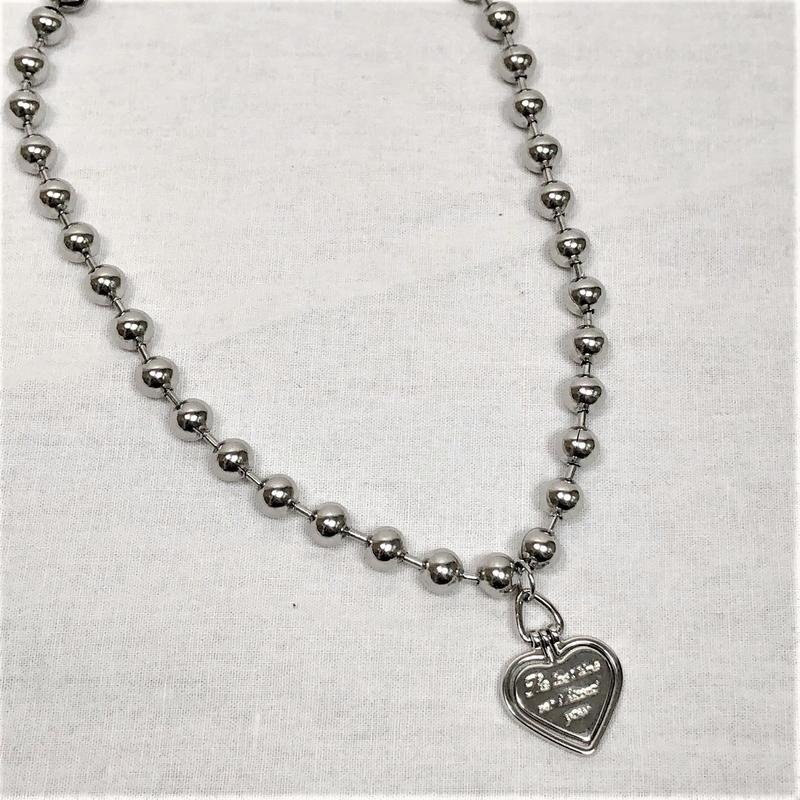 予約注文受付11/26-12/22[Hand made]Surgical Ball Chain Heart Necklace