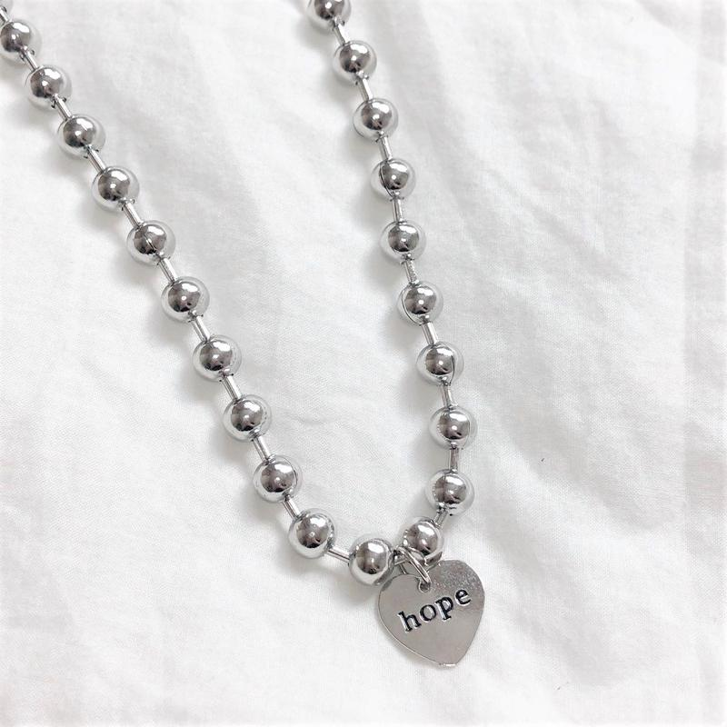 [Hand made]Surgical Ball Chain HOPE Necklace