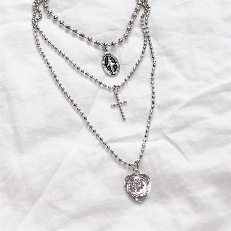 [Hand made]Surgical Triple Necklace
