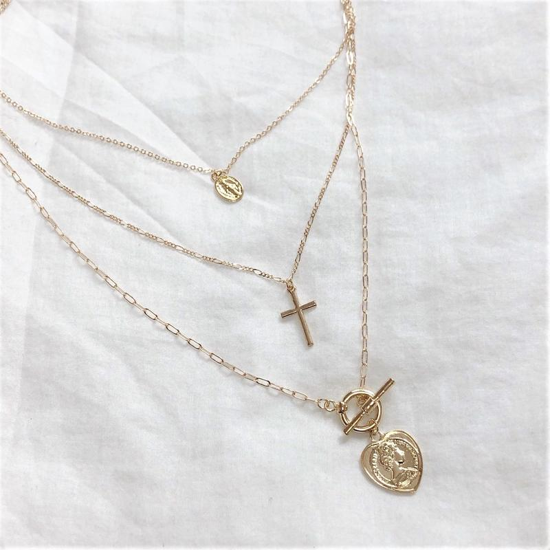 [Hand made]Gold Triple Necklace