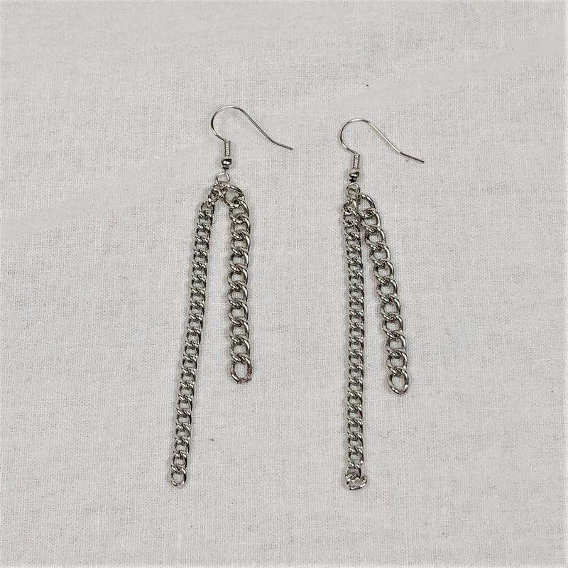 予約注文受付11/26-12/22[Hand made]Double Chain Earrings