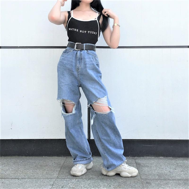 [ Unisex ]Damage Cutting Denim Jeans