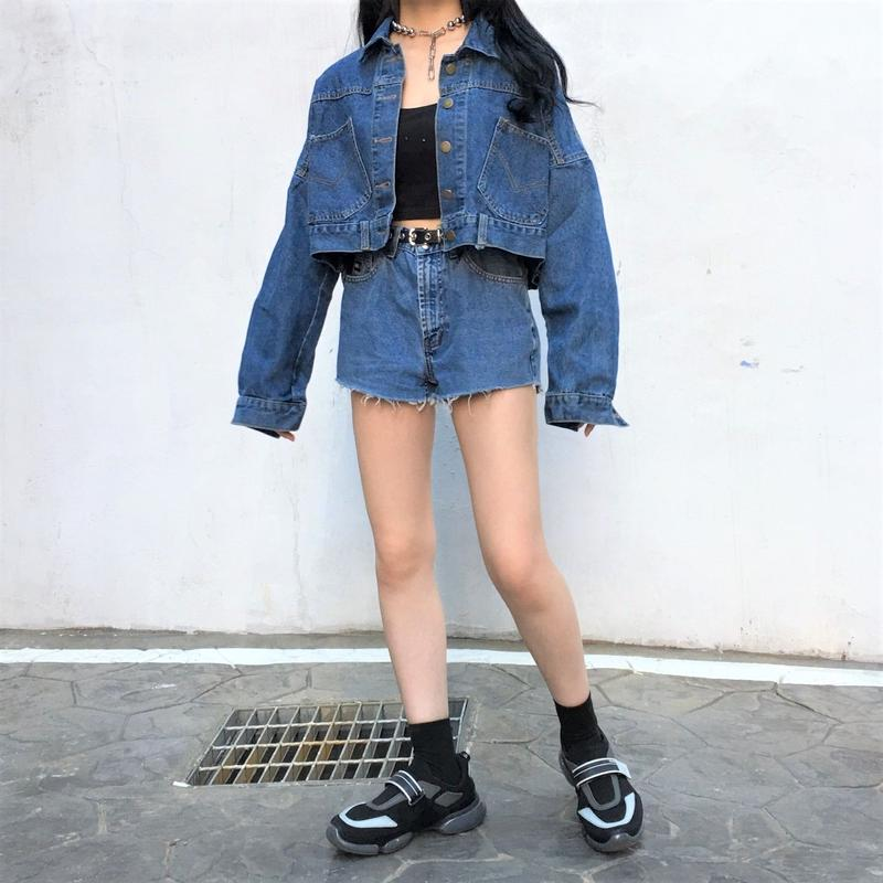 Button Cropped Denim Jacket