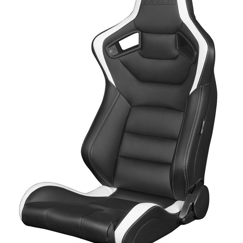2脚【Braum Racing セミバケットシート ブラック&ホワイト】