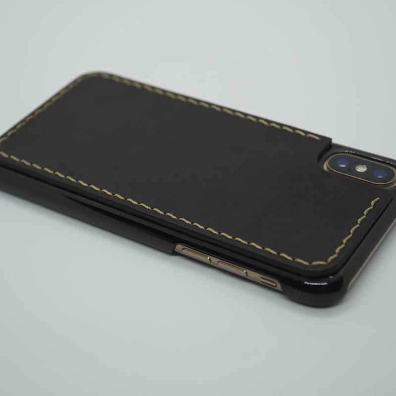 iPhone XS・X ケース【革張りタイプ】黒/ブラック