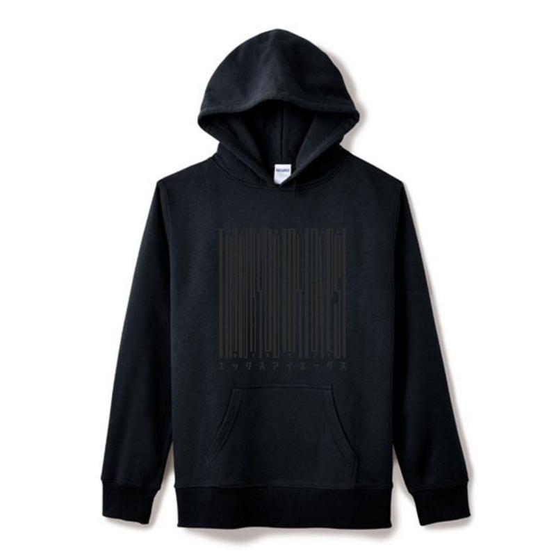 【Square】ポケット付きThanksBarcodeHoodie  ブラック×ブラック
