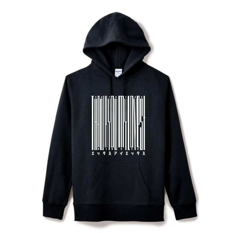 【Square】ポケット付きThanksBarcodeHoodie  ブラック×ホワイト