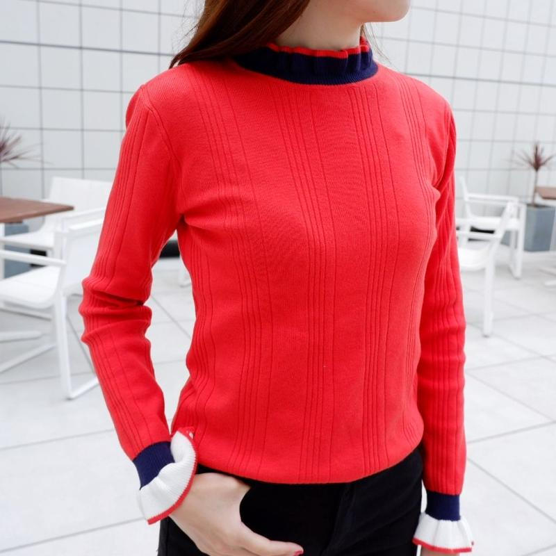 line frill knit / red