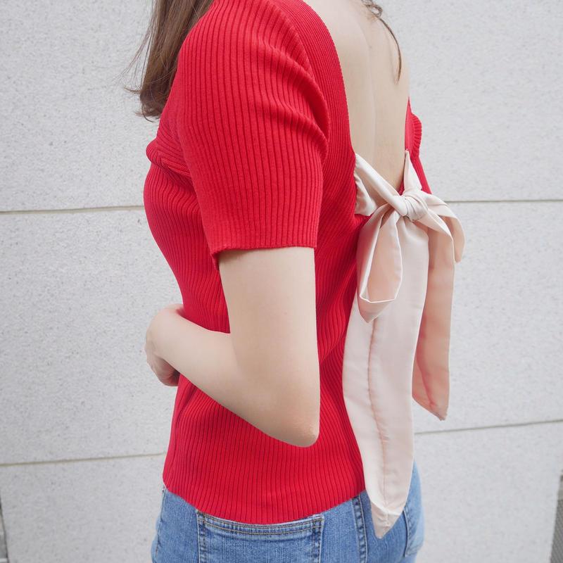 【即納】back ribbon knit / red