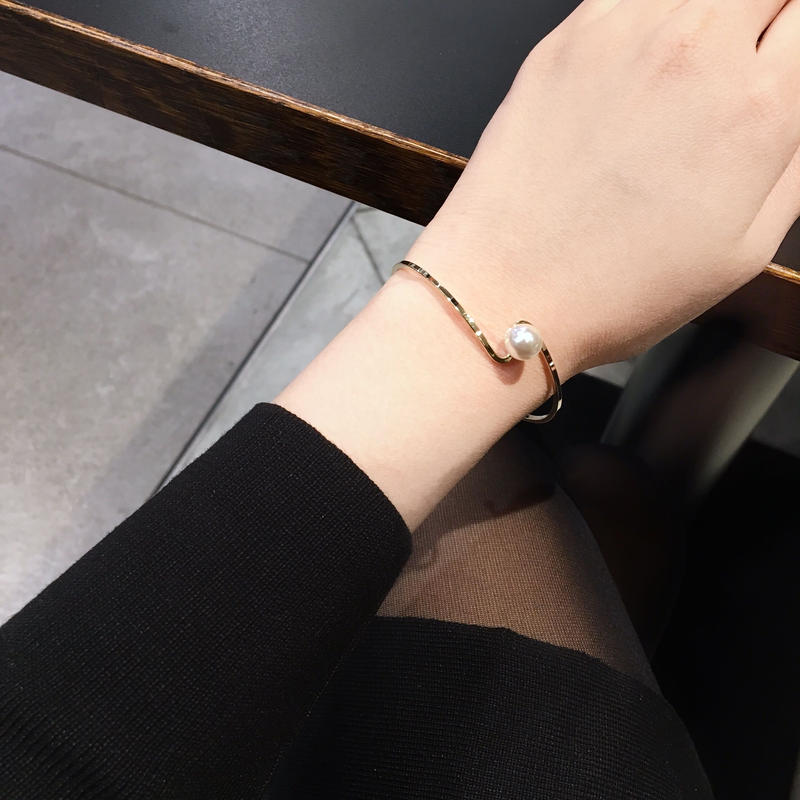 【即納】simple pearl bangle(gold/silver)