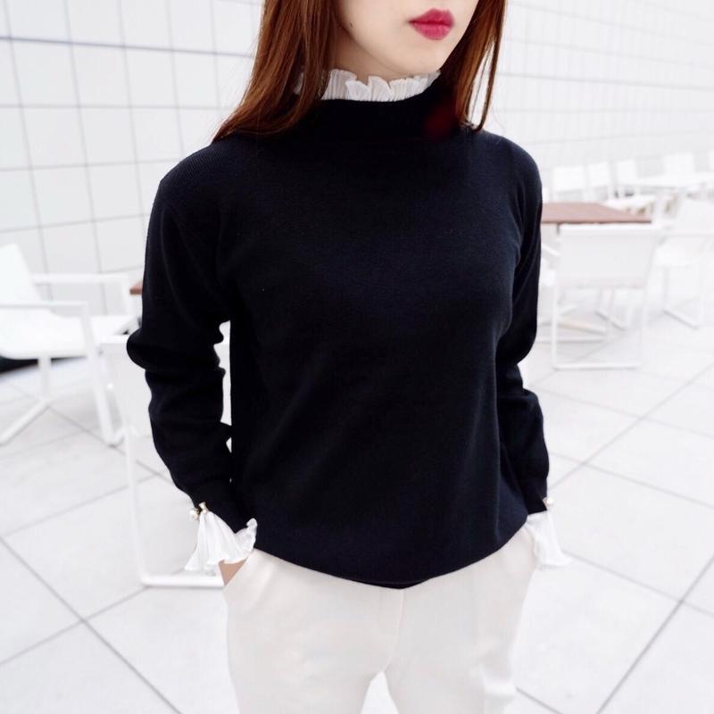 pearl frill knit / black