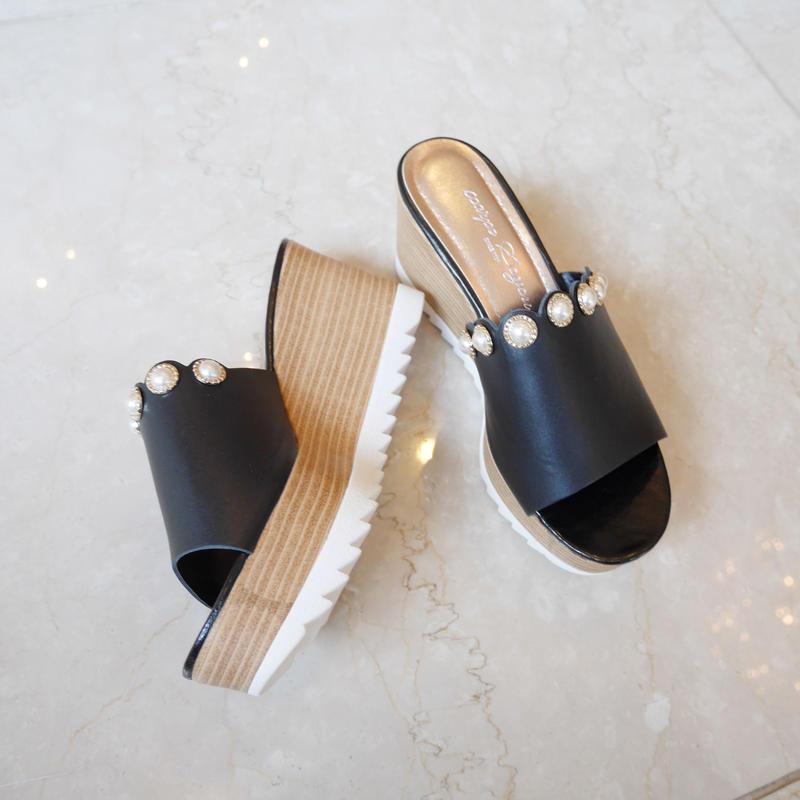 【予約】lamb leather sandal / black