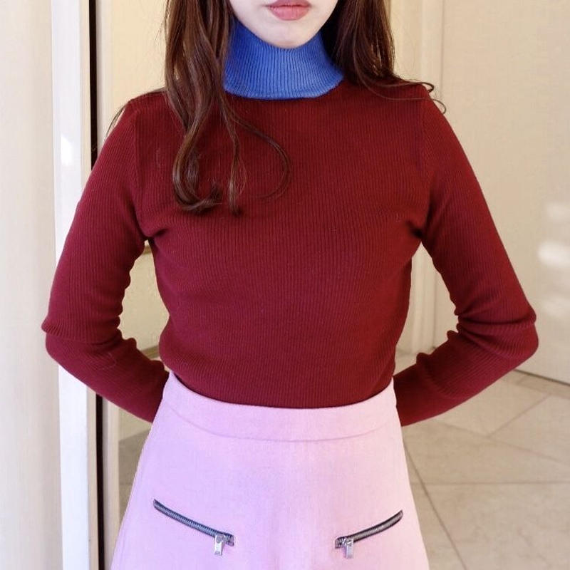 two tone slim knit / wine