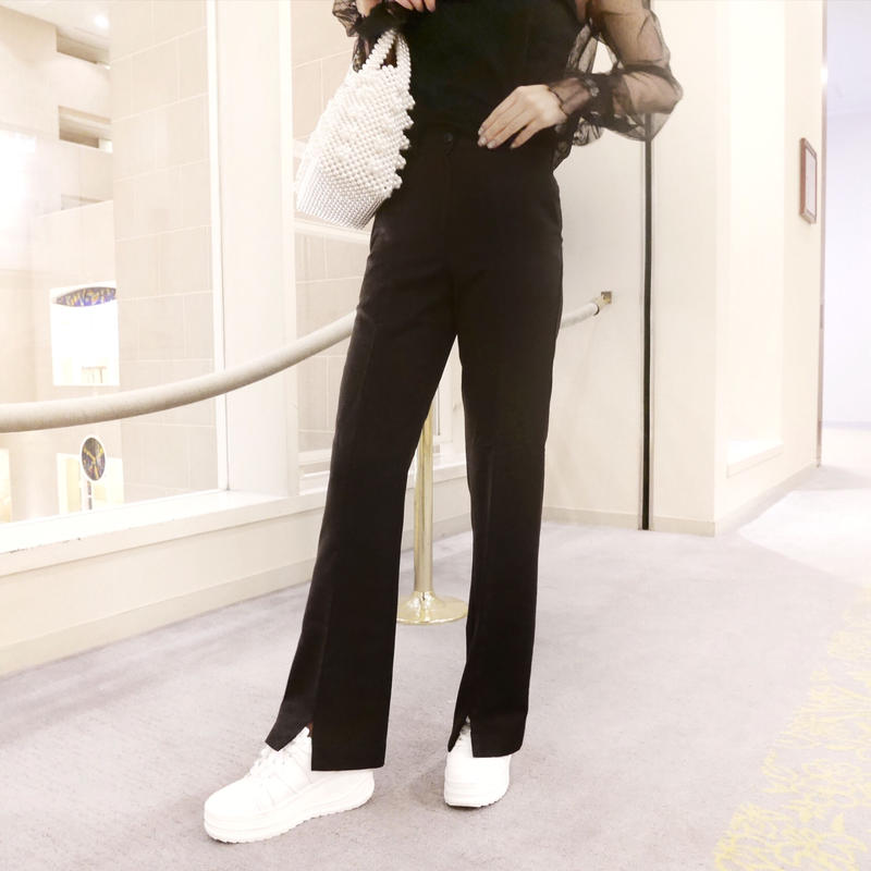 slim slit slacks / black