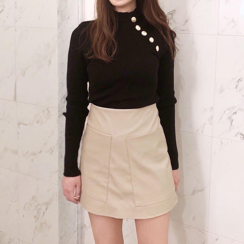 【即納】 leather mini