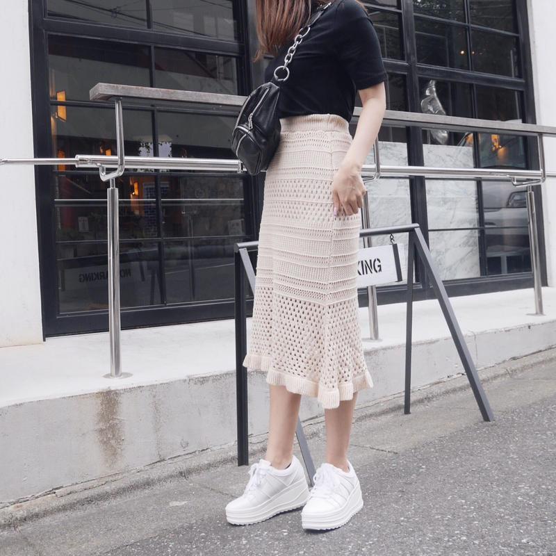 mermaid knit SK / beige