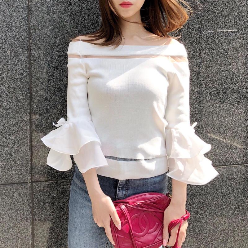 tulip knit / white