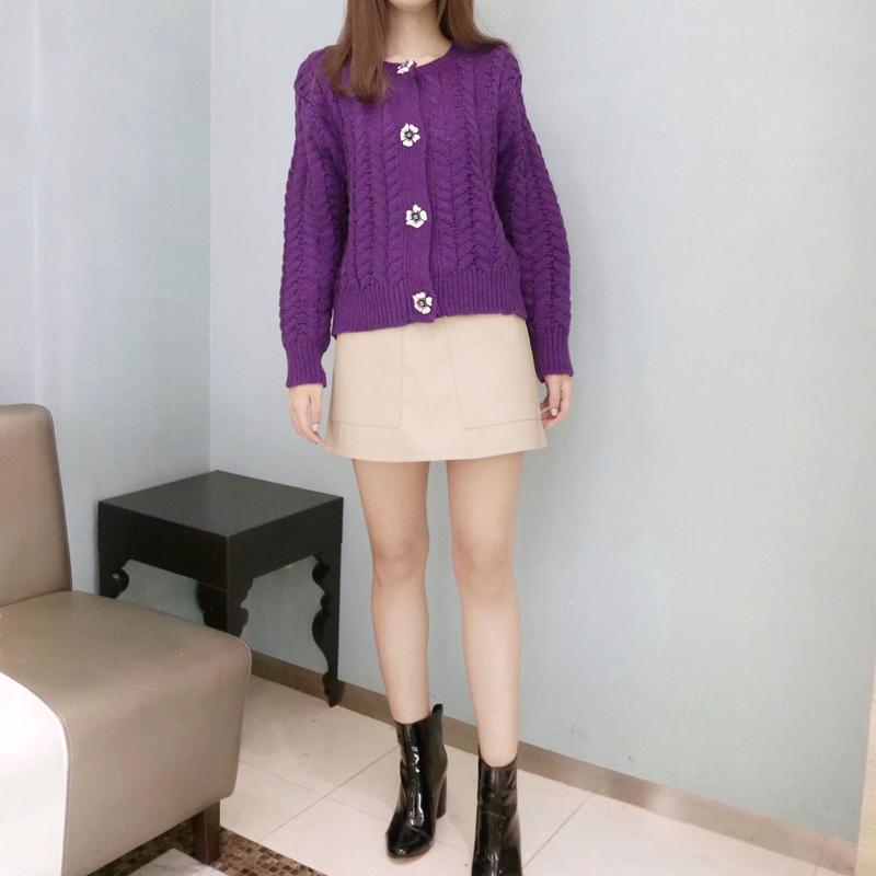 flower knit cardi / violet