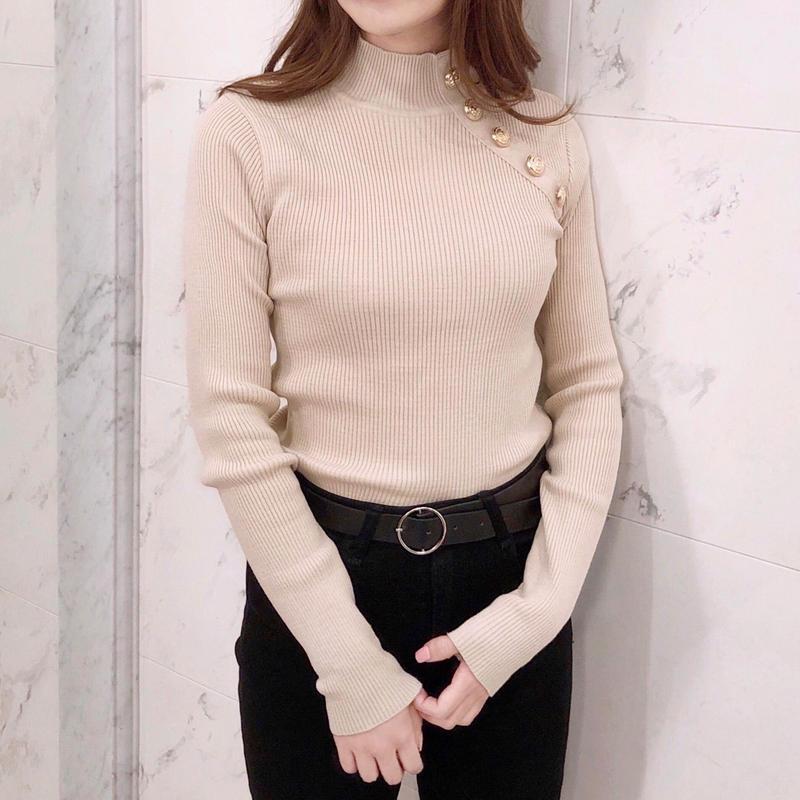 gold button lib knit / beige