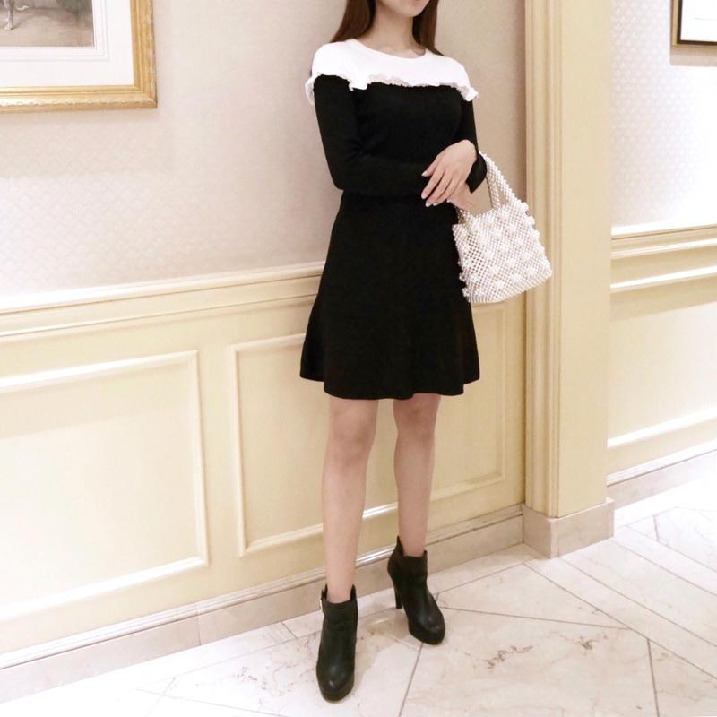 frill knit ops / black